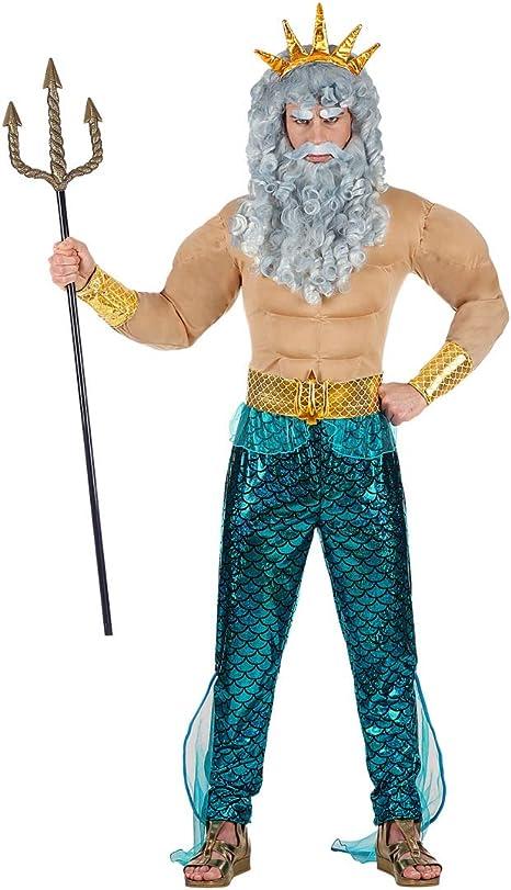 Amakando Disfraz de Dios del mar Neptuno para Hombre / En Talla M ...