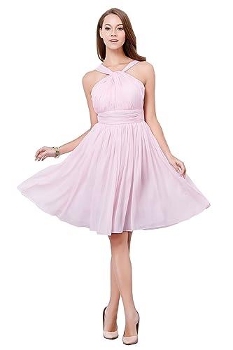New Girl's Halter Chiffon Wedding Bridesmaid Short Dress Prom