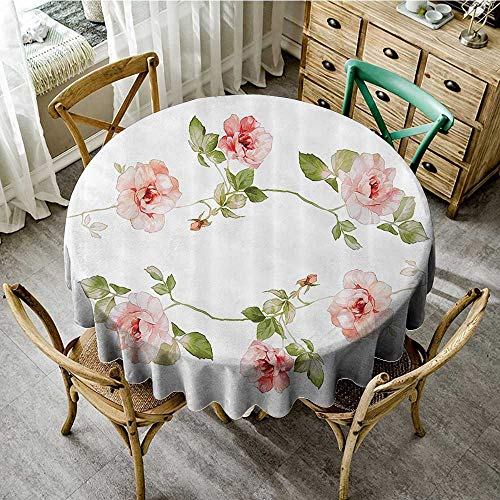Nostalgic Rose - familytaste Natural Tablecloth Floral,Hand Drawn Watercolor Flowers Roses in Circular Position Nostalgic Spring Artwork,Coral Green White D 36