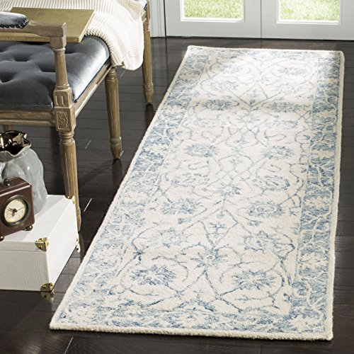 Safavieh Blossom Collection BLM351A Floral Vines Ivory and Blue Premium Wool Runner (2'3