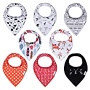 PPOGOO Baby Bandana Drool Bibs Unisex 8-Pack Gift Set for Boys and Girls made of 100% Organic Cotton