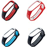 XIHAMA For Xiaomi Mi Band 4 / Mi Band 3 ブレスレット 腕時計バンド 交換ベルト ツートンカラー シリコン製 スポーツバンド 10色あり (4Pcs)