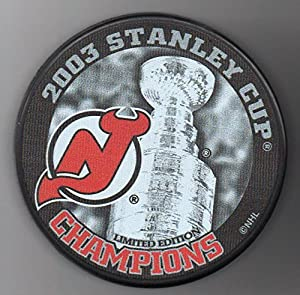 New Jersey Devils 2003 Stanley Cup Champions Official NHL Puck + FREE Puck Cube