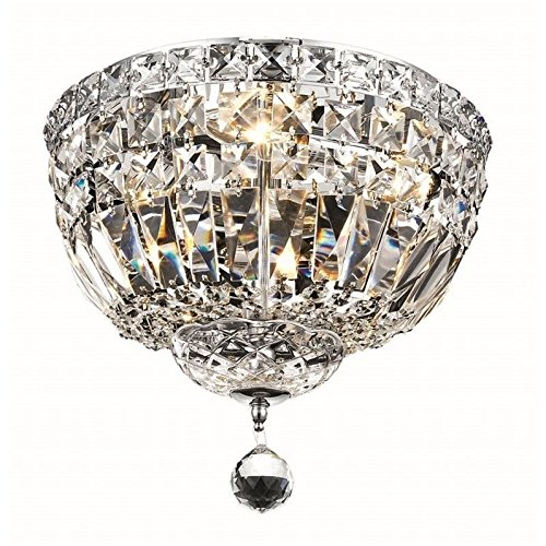 Elegant Lighting 2528F12C/RC Royal Cut Clear Crystal Tranquil 4-Light, Single-Tier Flush Mount Crystal Chandelier, Finished In Chrome with Clear Crystals from Elegant Lighting
