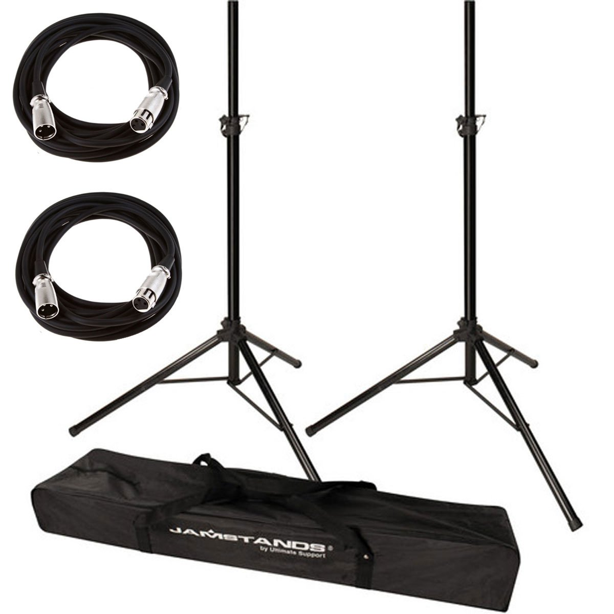 Ultimate Support JamStands JS-TS50 Tripod-Style Speaker Stand, Pair With Carry Bag + 2 XLR Mic Cables 20 Ft 4334420498