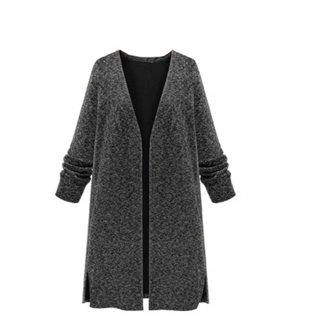 Realdo Women's Knitted Cardigan Outwear, Ladies Solid Open Front Long Sleeve Sweater Coat(X-Large,Black)
