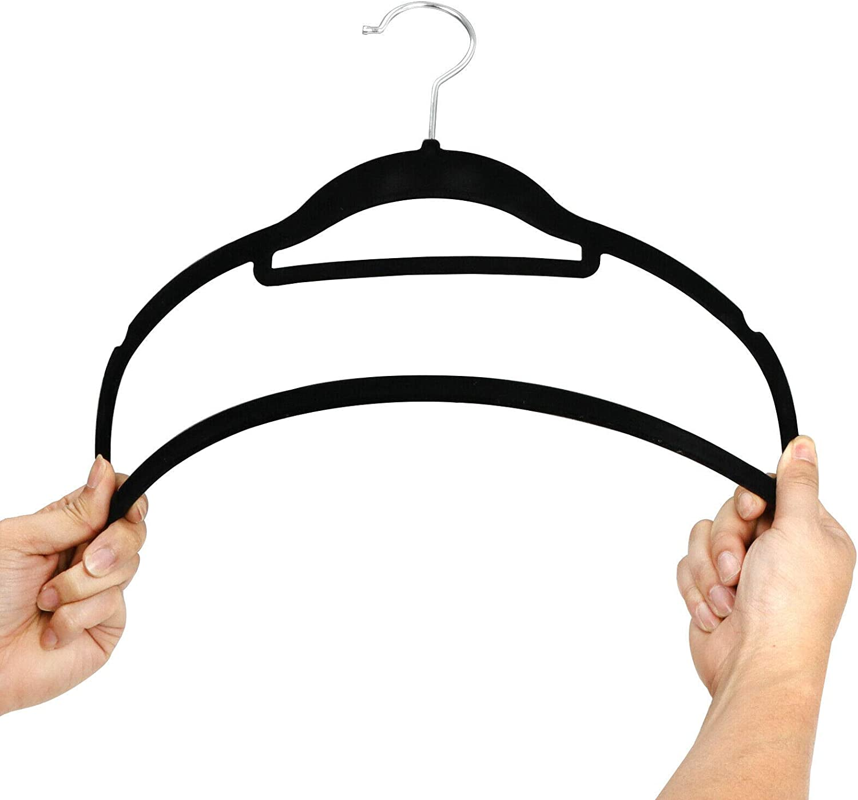 MB-THISTAR 100PCS Velvet Clothes Hangers Non-Slip Plastic Hanger Suit//Shirt//Pants Hangers Black