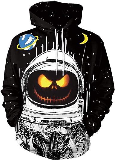BYSTE Felpe con Cappuccio Unisex Stampa di 3D Stampato Lovers Pauroso Halloween Zucca Smorfia Festa Uomo Coulisse Tasche Maniche Lunghe Felpe per Adolescenti Ponticelli
