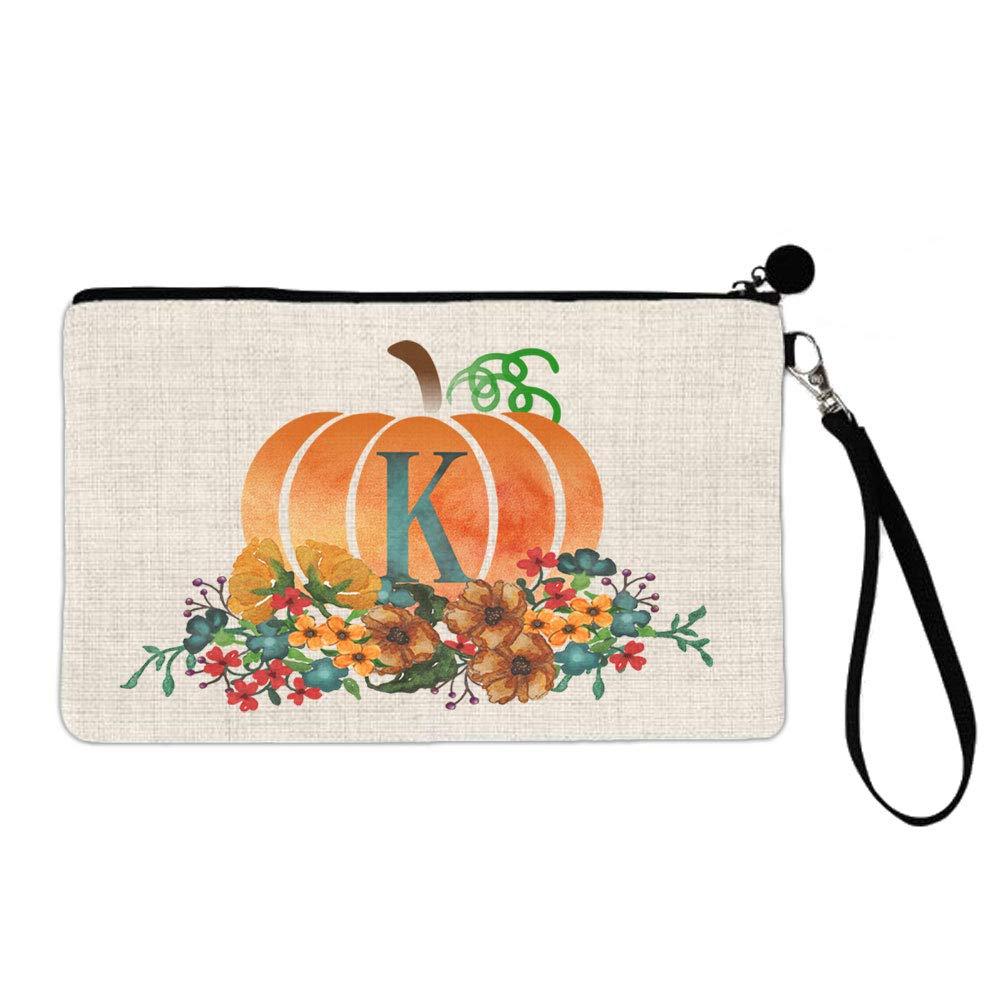 BRGiftShop Watercolor Pumpkin Floral Monogram Alphabet Letter K Large Linen Cosmetic Bag with Zipper