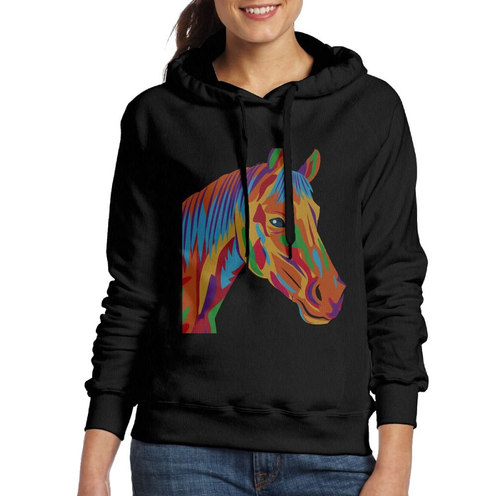 Art Watercolor Horse Hand Drawn Watercolor Womens Hoodie Sweatshirt For Fall/Winter For Women
