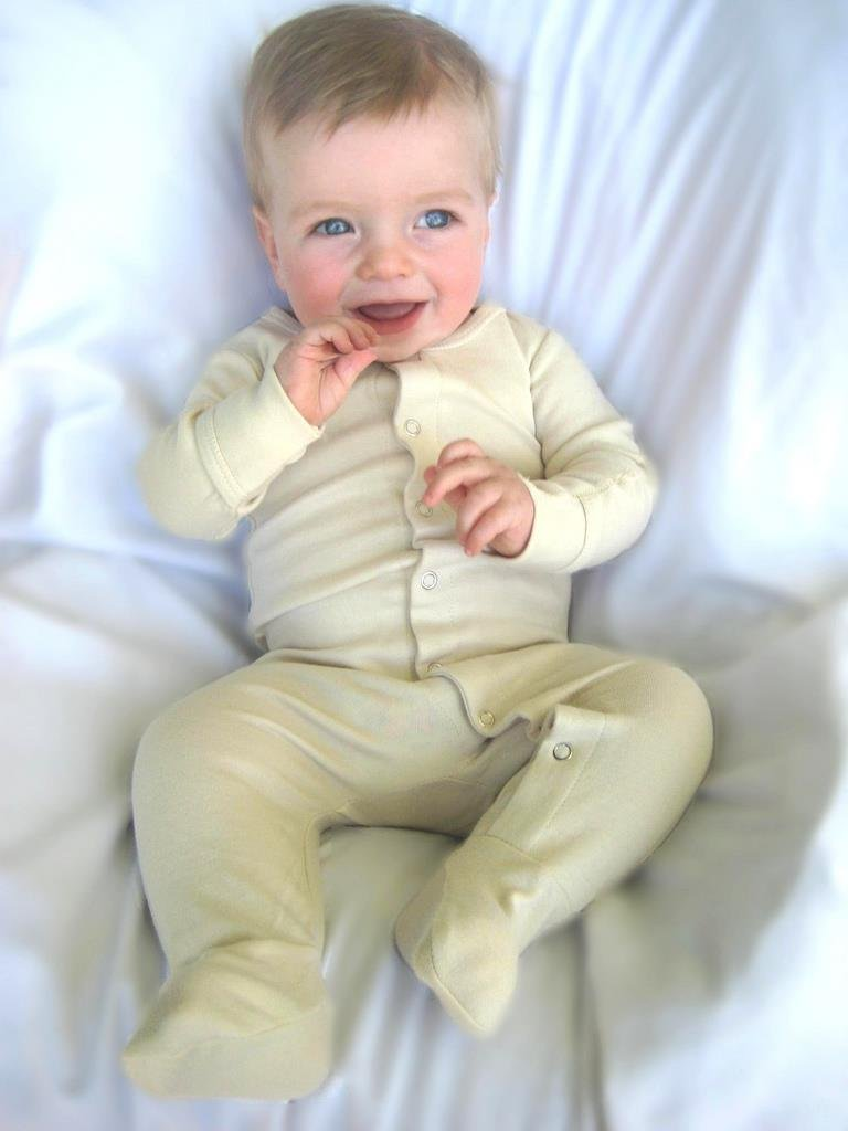 L'ovedbaby Unisex-Baby Organic Cotton Footed Overall, Beige, 0/3 Months by L'ovedbaby (Image #3)