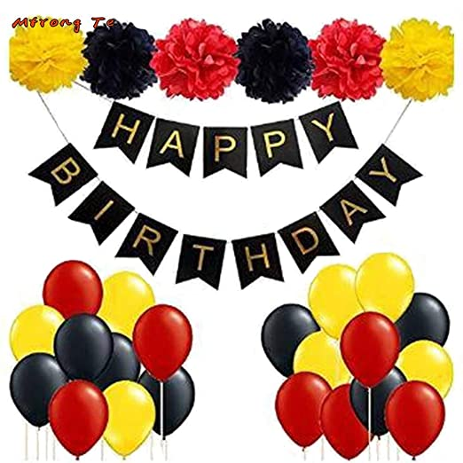 ATEZIEU Mickey Mouse Birthday Party Supplies/Rojo Negro ...
