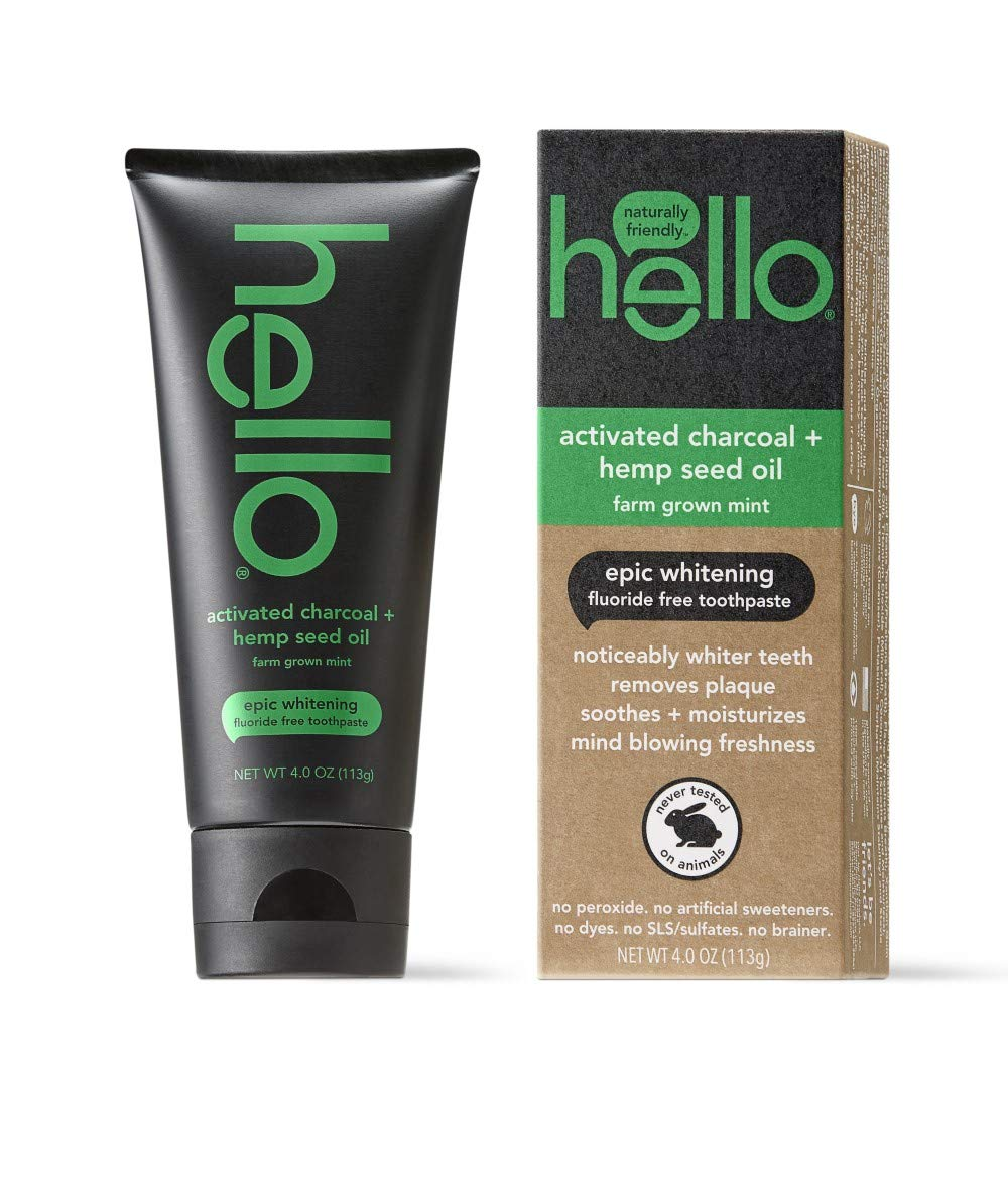 Hello Oral Care Activated charcoal + hemp seed oil fluoride free toothpaste, 4 Ounce
