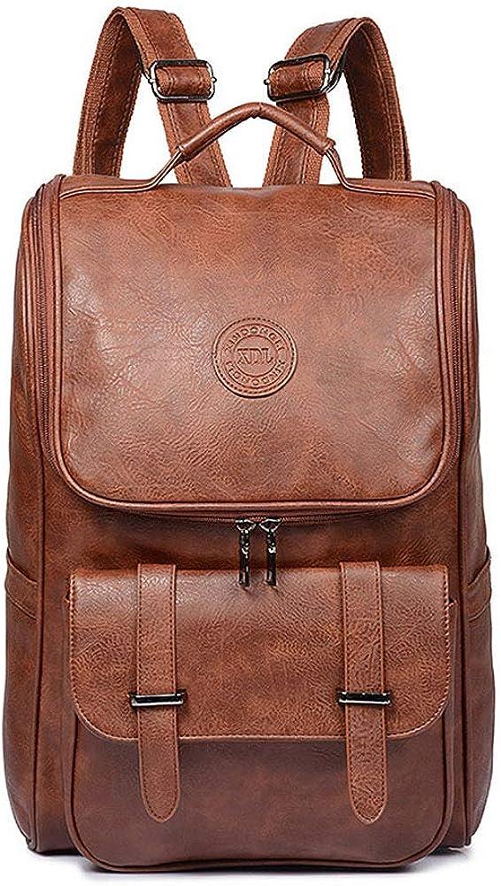 Vegan Leather Backpack Slim Vintage Laptop Backpack for Men Women,Travel Brown Water Resistant Brown College School Bookbag Weekend Daypack Bag.