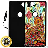 Custom Google Pixel 2 Case (Colorful Cat Painting) Plastic Black Cover Ultra Slim | Lightweight | Includes Stylus Pen by Innosub