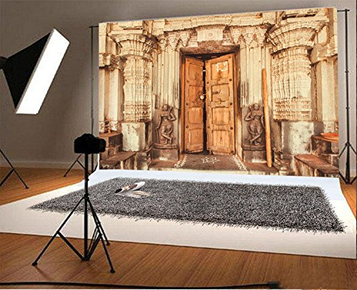 Laeacco 8x6.5FT Vinyl Backdrop Photography Background Traditional Style Design Historical Hindu Temple with Collumns Wooden Door Sculptures India Backdrop Personal Shoot Photo Studio Prop