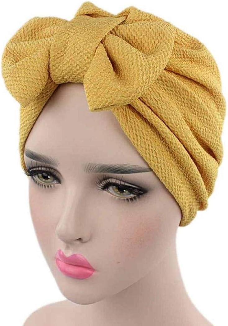 Women Large Bow-Knot Skull Beanie Elegant Wear-Resistant Turban Brim Hat Easter Halloween Party Cap
