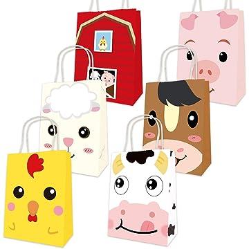 Farm Animal Bags Barnyard Party Favor Birthday Gift Treat Goody Bag 18 Pack