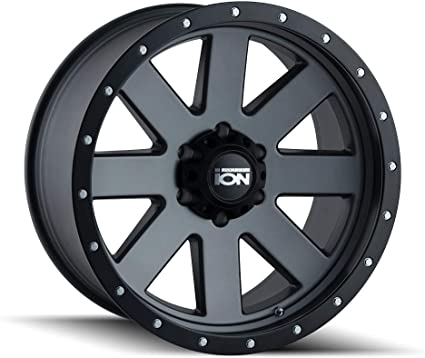 20 x 9. inches //8 x 165 mm, 18 mm Offset Ion 134 Matte Black Beadlock Wheel with Painted Finish