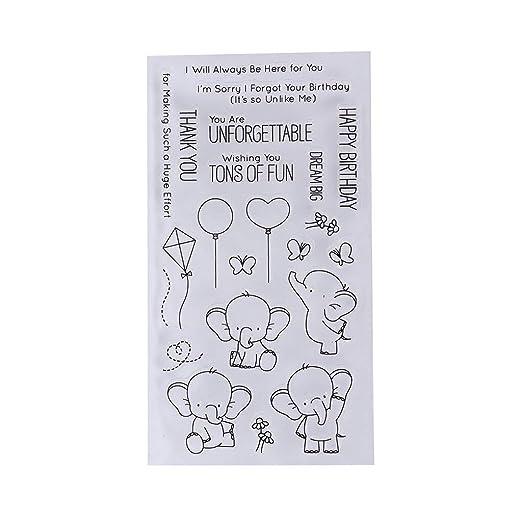 yunso feliz cumpleaños elefante transparente silicona sellos ...