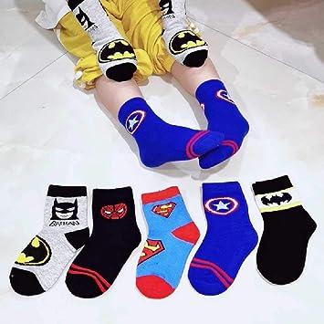 ZHANGNUO 5 Pares/Lote 100% Algodón Calcetines para Niños Primavera Transpirable Dibujos Animados Spiderman Superman Moda Bebé Niños Niñas Calcetines para 1-12 Años: Amazon.es: Deportes y aire libre