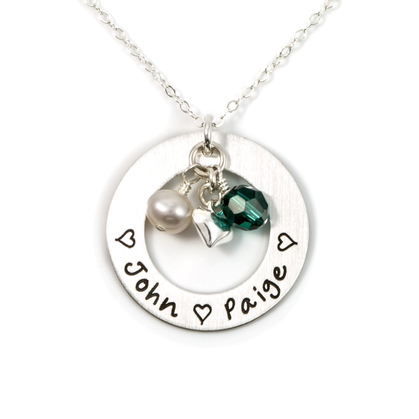 AJ's Collection Love Display with Personalized Sterling Silver Round Washer, Hand Finished. Includes up to 4 Swarovski Birthstones or Pearls, and a Choice of Sterling Silver Chain for Her