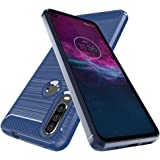Motorola One Action Case,Moto P40 Power Case,Dahkoiz Shock Absorption Moto One Action Case Slim TPU Bumper Cover Flexible Lightweight Carbon Fiber Protective Phone Case for Motorola One Action, Blue