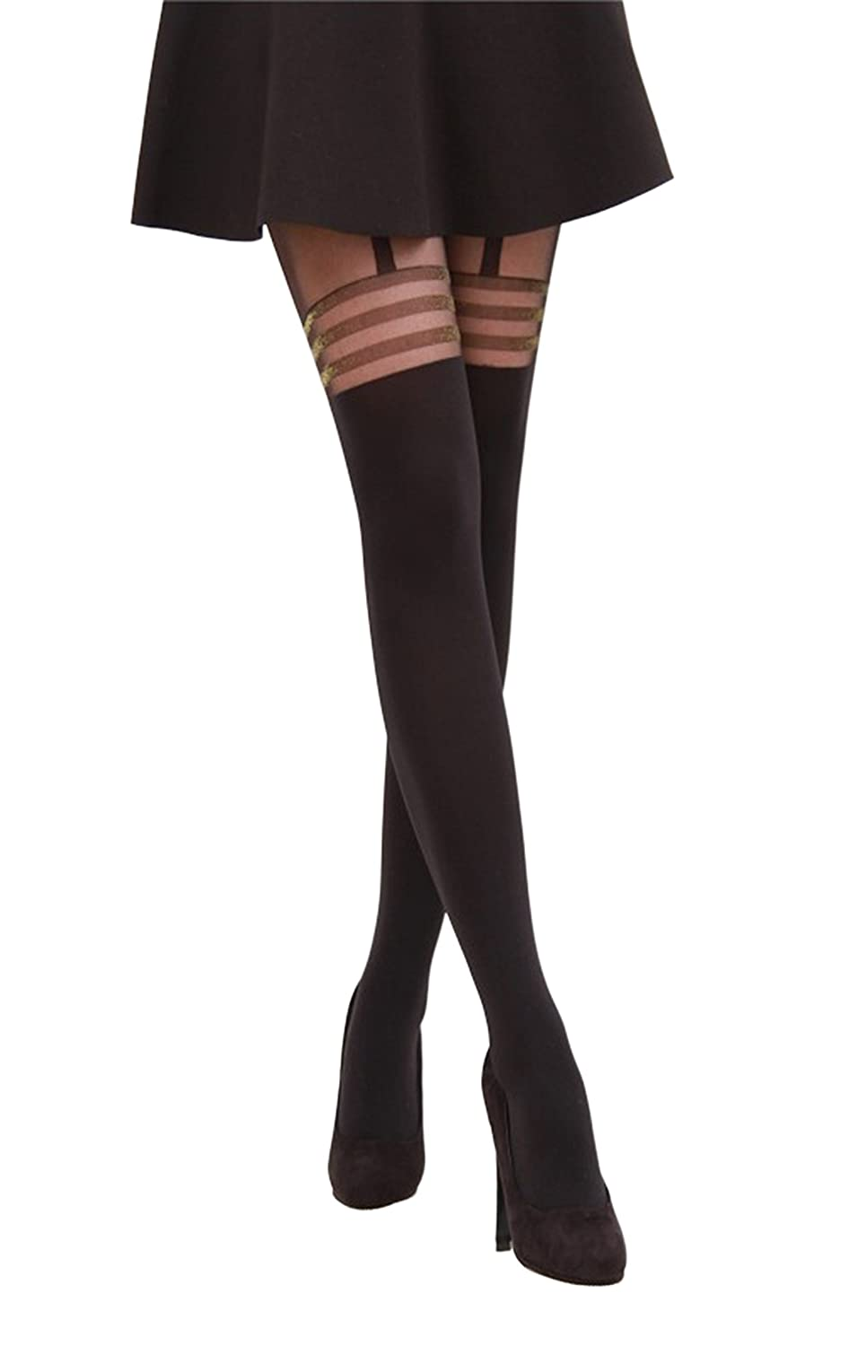ace206e0dbbed Intimate Portal Women's Fake-it Thigh High Opaque Tights Strap Black Gold  Glitters at Amazon Women's Clothing store:
