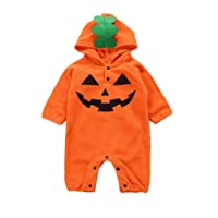 Clearance Baby Boys Girls Halloween Hooded Romper Jumpsuit Mingfa Infant Toddler Pumpkin Print Winter Outfits Clothes