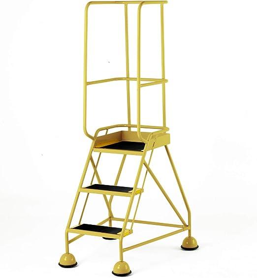 Escalera de seguridad portátil con 3 peldaños y ruedas, altura de plataforma de 0,8 m, barandilla de seguridad de 1,7 m, color amarillo: Amazon.es: Hogar