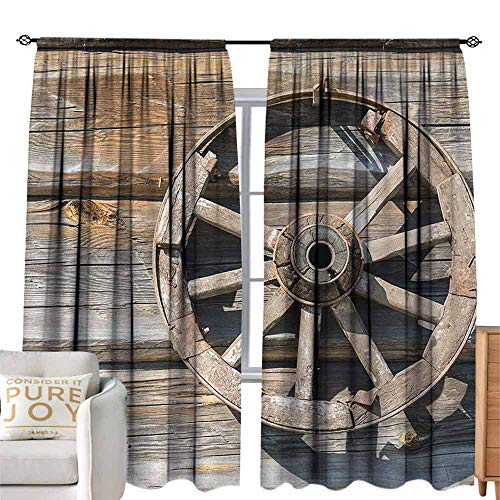 Andrea Sam Blackout Tie Up Shade Curtain Barn Wood Wagon Wheel,Old Log Wall with Cartwheel Telega Rural Countryside Themed Image,Umber Beige W84 x L108 inch,Lifable (Up Shade Barn Pottery Tie)