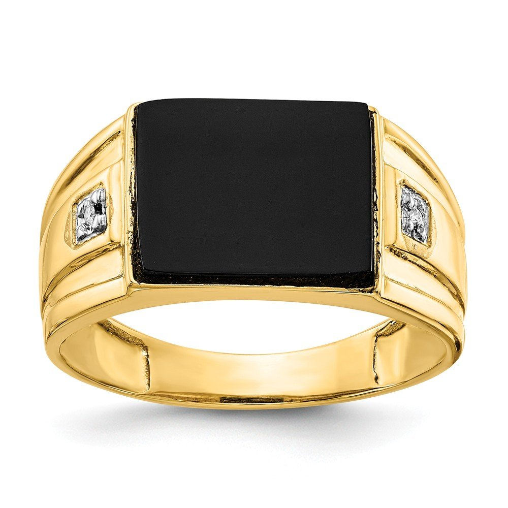 14k Yellow Gold Men's Onyx and Diamond Ring (Color H-I, Clarity SI2-I1) by Jewelry Pot (Image #1)