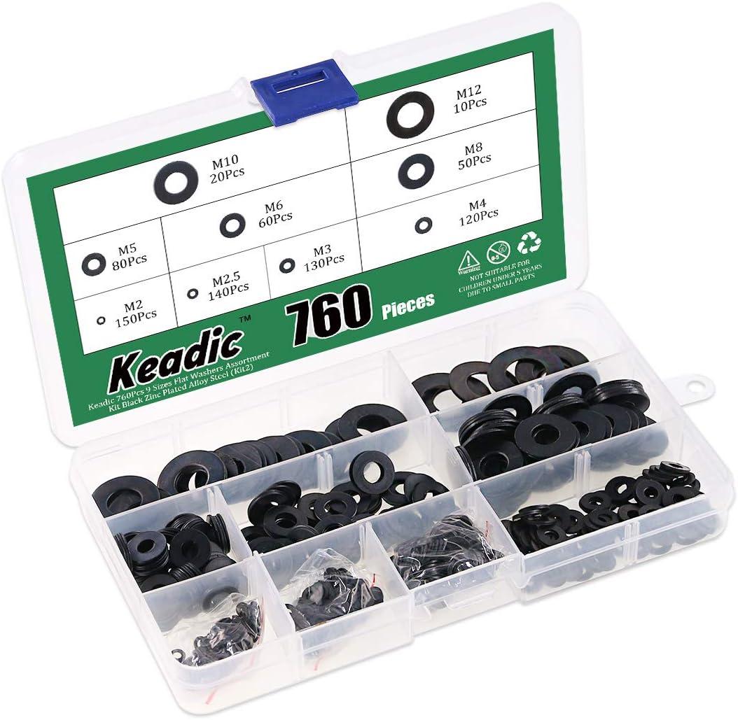 Keadic 320Pcs 12 Sizes Flat Washer Assortment Kit Copper Metric Sealing Washers M5 M6 M8 M10 M12 M14 M16 M20