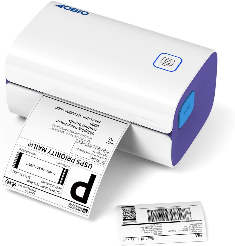 AOBIO Shipping Label Printer 4x6 Thermal Desktop Printer High Speed Printer for Shipping, Barcodes, Mailing, Labels and Compatible with Amazon, Ebay, Shopify, FedEx, Ups, DHL, USPS and More