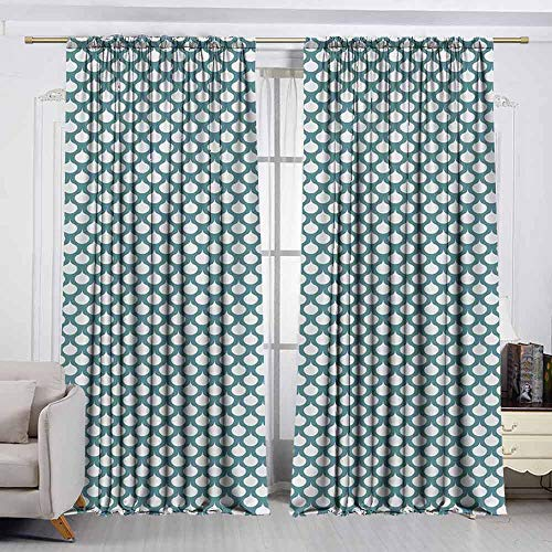 GUUVOR Art Nouveau 99% Blackout Curtains Retro Style Abstract Pattern with Curves Simplistic Symmetic Tile Design for Bedroom Kindergarten Living Room W52 x L95 Inch Teal and White