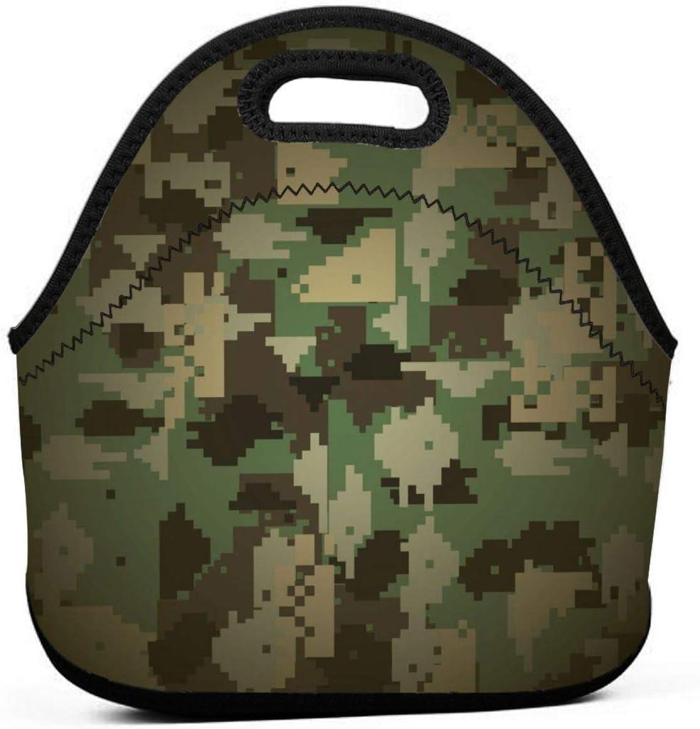 Bolsa de almuerzo de camuflaje militar portátil de neopreno con cremallera para escuela de oficina y picnic al aire libre Fiambrera ligera
