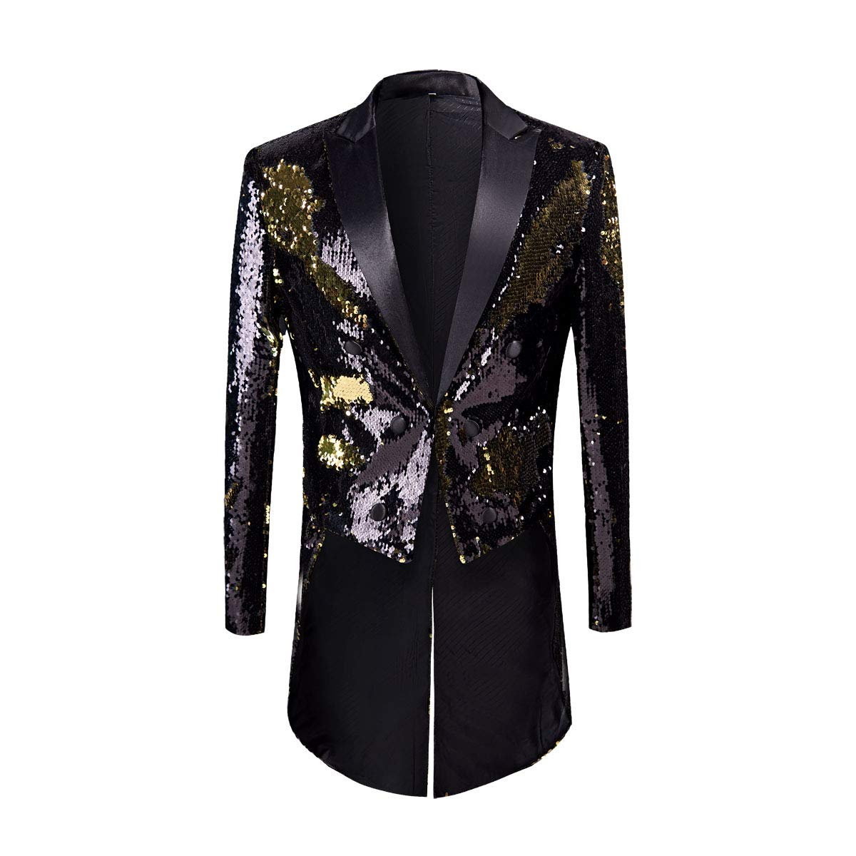 PYJTRL Mens Fashion Double-Color Sequins Tailcoat Tuxedo (Black + Gold, US 44R) by PYJTRL