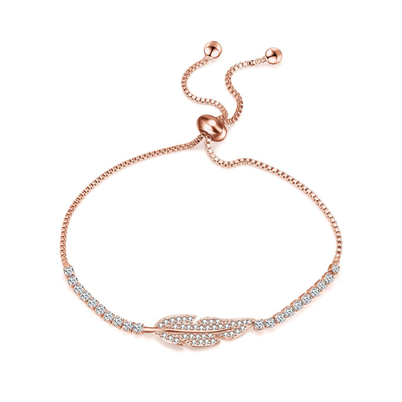 WINNICACA Tree Leaf Chain Bracelet Leaf Charm Adjustable Bracelet Cubic Zirconia Leaf Bangle Bracelet Jewelry for Women Girls(Rose Gold)