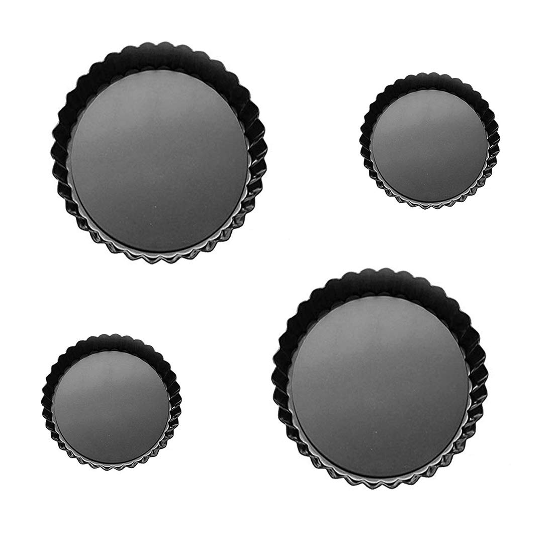 4 Pack Non-Stick Round Quiche Pan Tart Pan with Removable Loose Bottom - 4/9 Inch Tart Pans for Baking