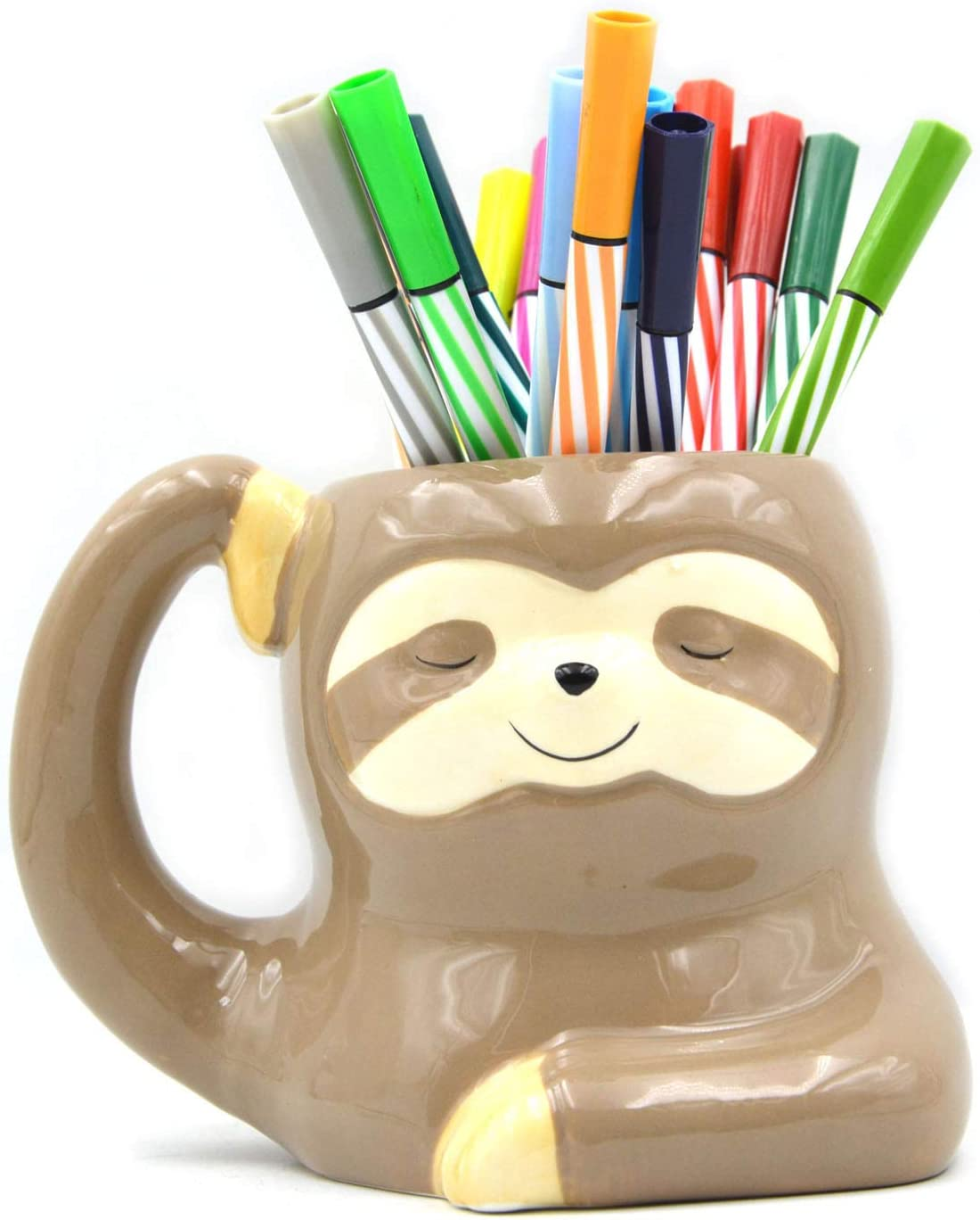 3.9 Inch Ceramic Sloth Shaped Cup Sloth Pen Holder Pencil Holder/Sloth Toothbrush Holder Cup Brush Holder/Sloth Planter Pot Desk Organizer Decoration Multipurpose Pot