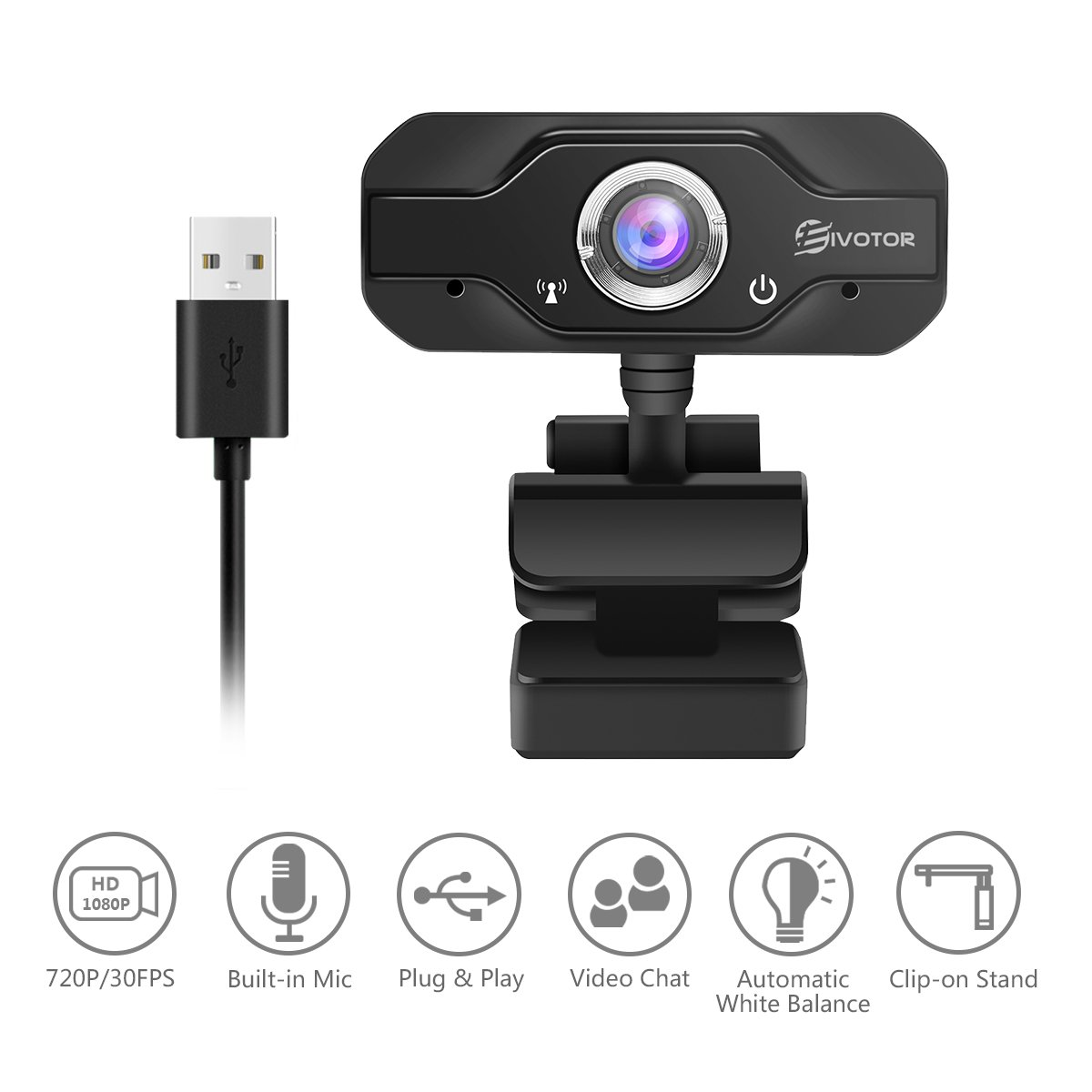 720P HD Webcam, EIVOTOR USB Mini Computer Camera with Built-in Microphone for Laptops and Desktop,Black by EIVOTOR (Image #3)