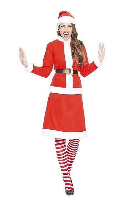 Disfraz de Mamá Noel o Miss Santa Claus para mujer: Amazon ...