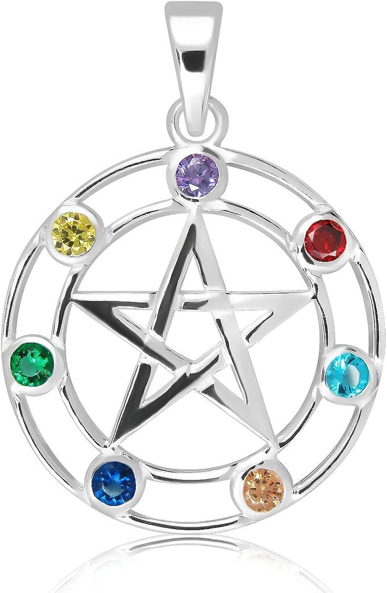 con zirconia cubica 7/Wicca Celestial Star pentacolo ciondolo Sistakno i sette chakra traforata in argento Sterling 925