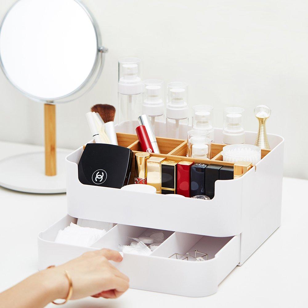 Zen de Bambou de Salle de Bain Cosm/étique organiseurs Organiseur de Maquillage avec tiroirs Multipurpose Plastique Bambou Bureau Bo/îte de Rangement