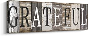 Quotes Wall Art Decor, Family Decorative Signs Inspirational Motto Canvas Prints (with Solid Wood Inner Frame) (Grateful, 6 x 17 inch)