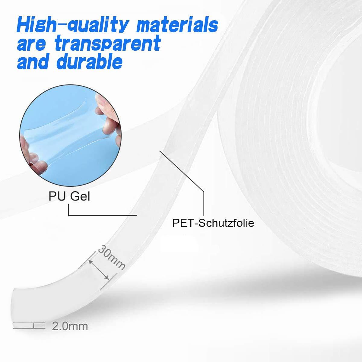 Office Home Car Decor 2 mm x 3 m LLXIA nastro di montaggio trasparente double face Nano Gel riutilizzabile nessun residuo adesivo trasparente Anti Slip Sticky Tape per pavimenti in legno duro
