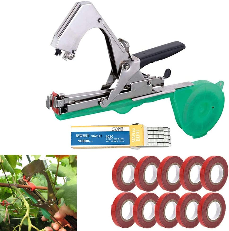 LIRANK Plant Tying Machine Tapener Tool,Tapetool Tapener machine,Vegetable Fruit Branch Hand Strapping Tool with 10 Rolls Tape,Staples Set,For Grapes,Flower,Vine,Raspberries,Tomato,Cucumber and Pepper