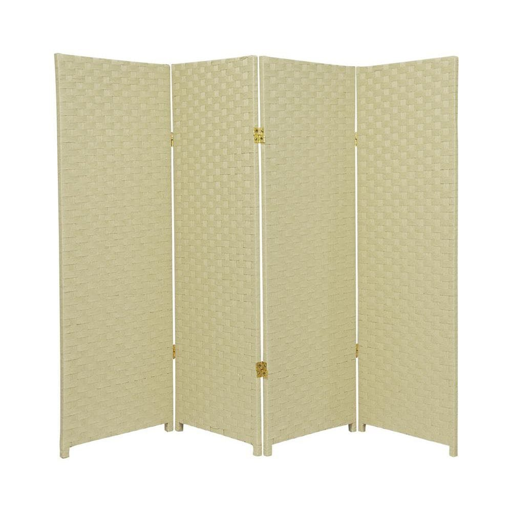 MD Group Room Divider Woven Fiber 4-ft Tall 4-Panel Cream Foldable Double Sided Lightweight