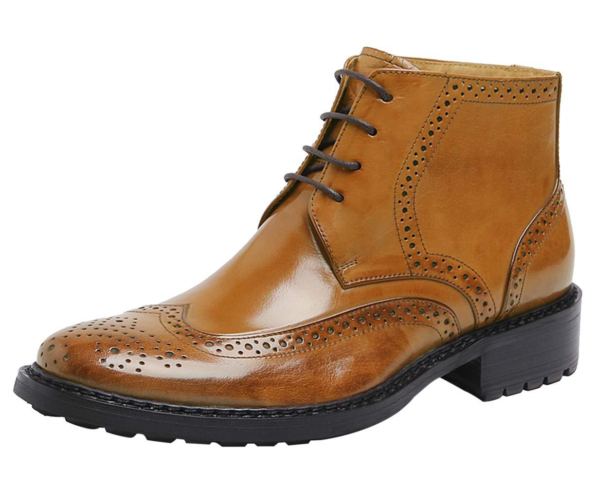 SANTIMON Men's Heritage Wingtip Boots Leather Lace up Brogue Oxford Ankle Boot Tan 7.5 D(M) US by SANTIMON