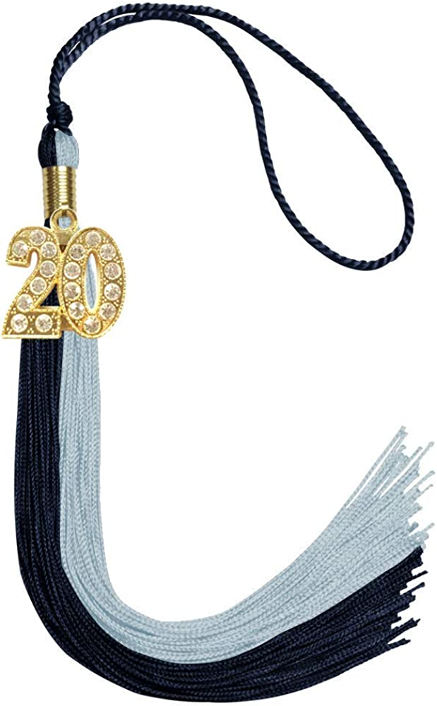 Endea Graduation Double Color Tassel With Gold Bling Charm Navy Blue//Light Blue, 2020